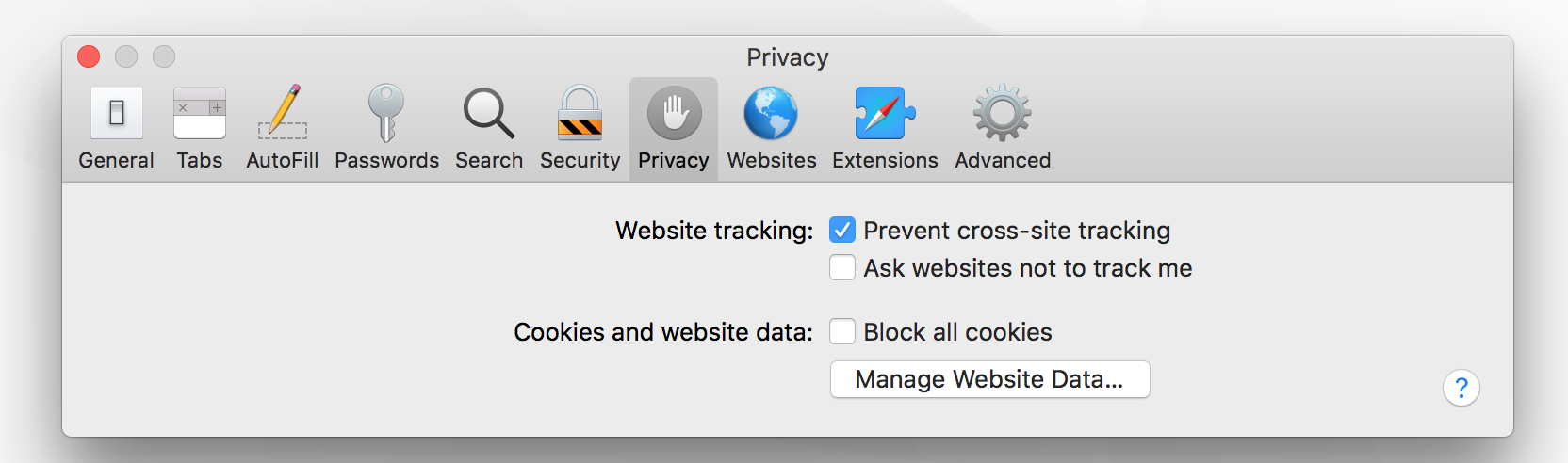 Enable cookies in the Privacy settings